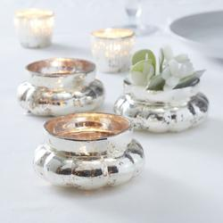 Silver Large Frosted Tealight Holder