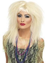 80s Trademark Blonde Crimp Wig