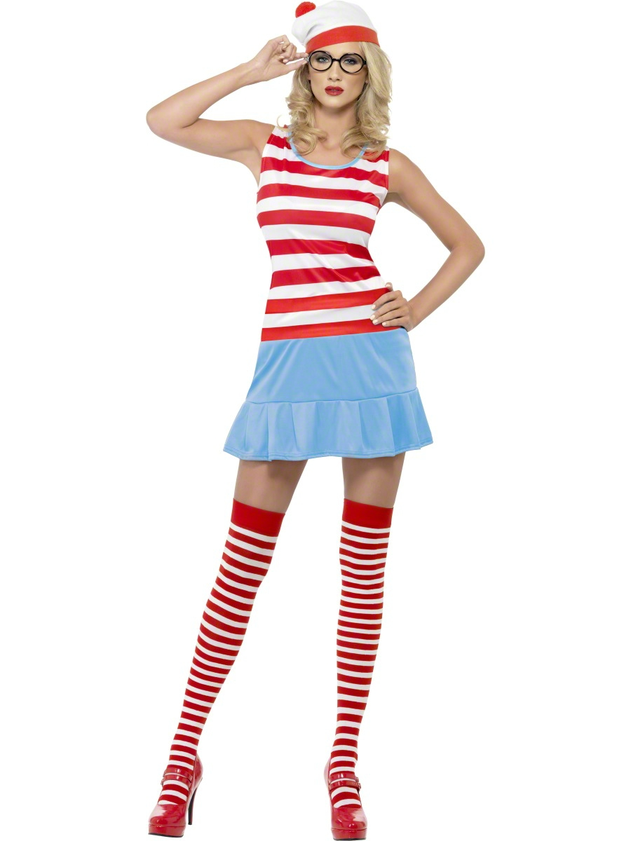 Sexy Wheres Wally Wenda Cutie Fancy Dress Ladies Costume Womens