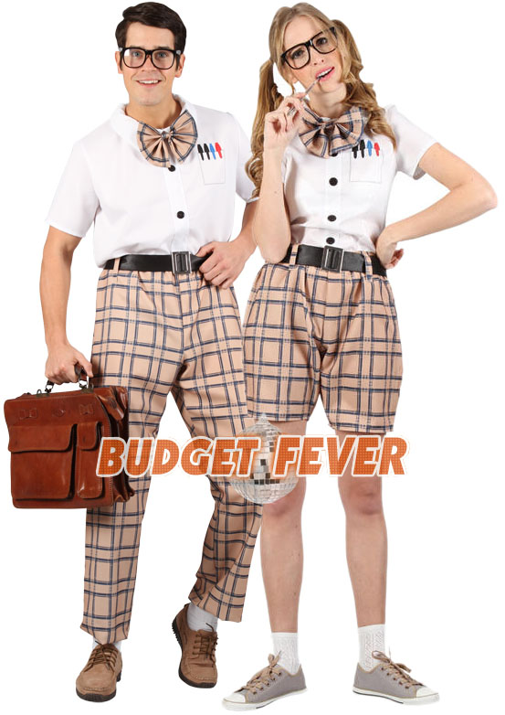 High School Girl Boy Fancy Dress Nerd Uniform Costume Mens Ladies Geek Outfit | eBay