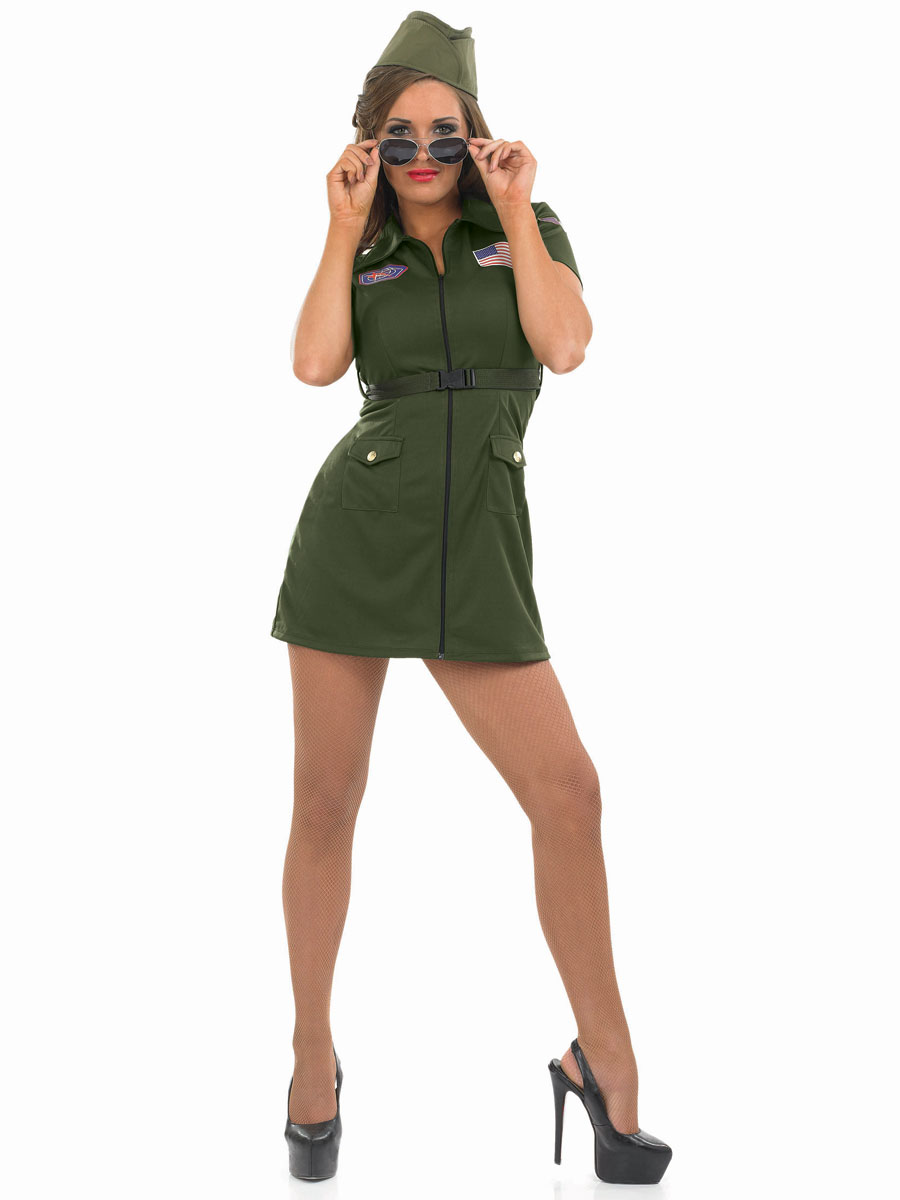 Sentinel Aviator Girl Costume + Hat 80s Air Force Uniform Womens Military Fancy Dress New  sc 1 st  eBay : air force costumes  - Germanpascual.Com