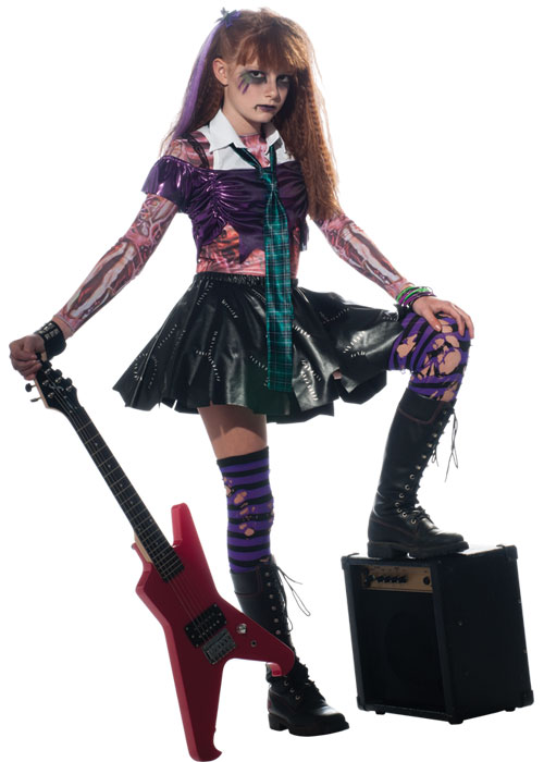 Zombie Girls Punk Rock Halloween Fancy Dress Kids Child Zombet ...