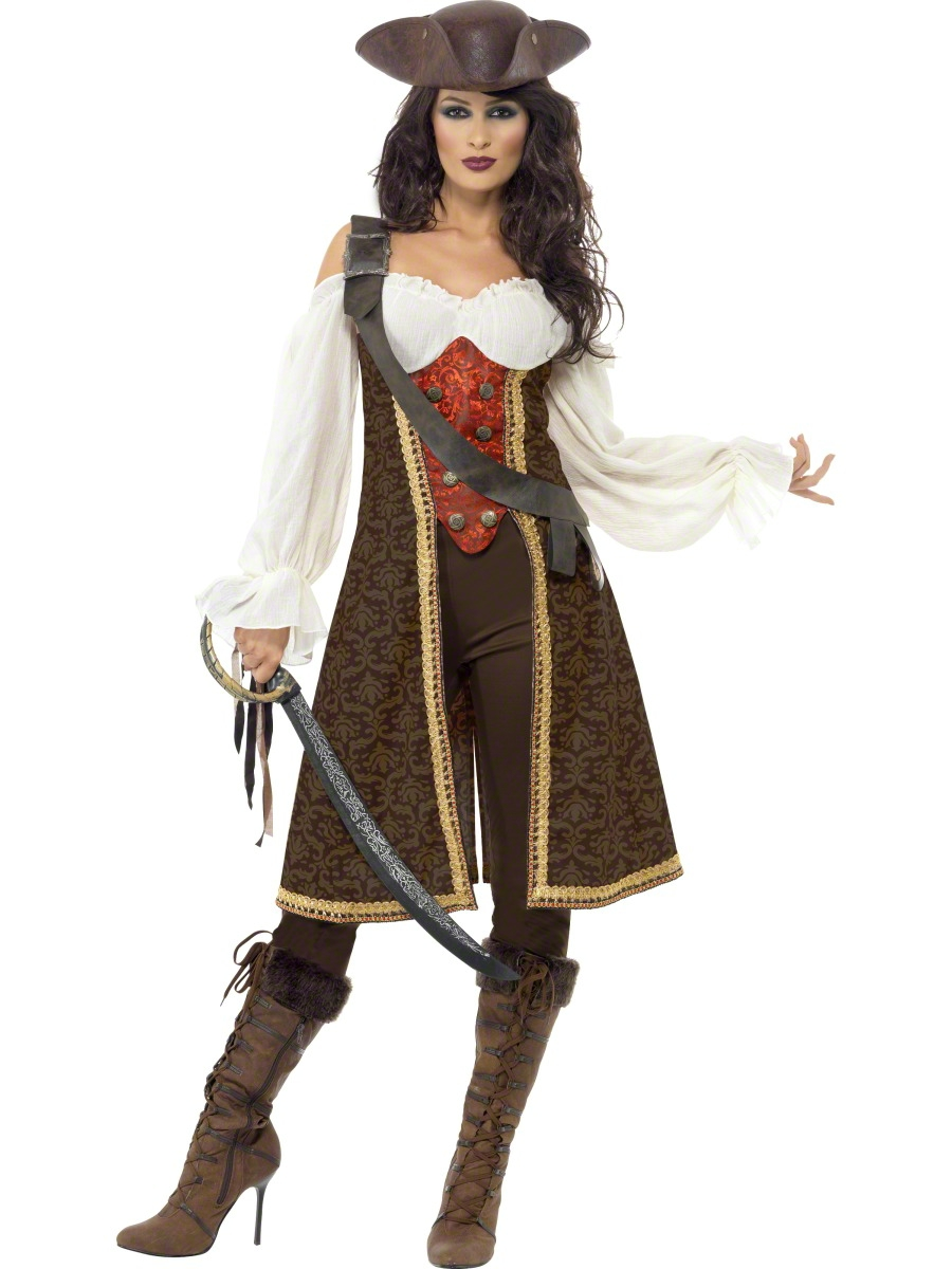 5069d4c07fe Details about Deluxe Pirate Wench Ladies Fancy Dress Womens Adults  Halloween Costume Outfit