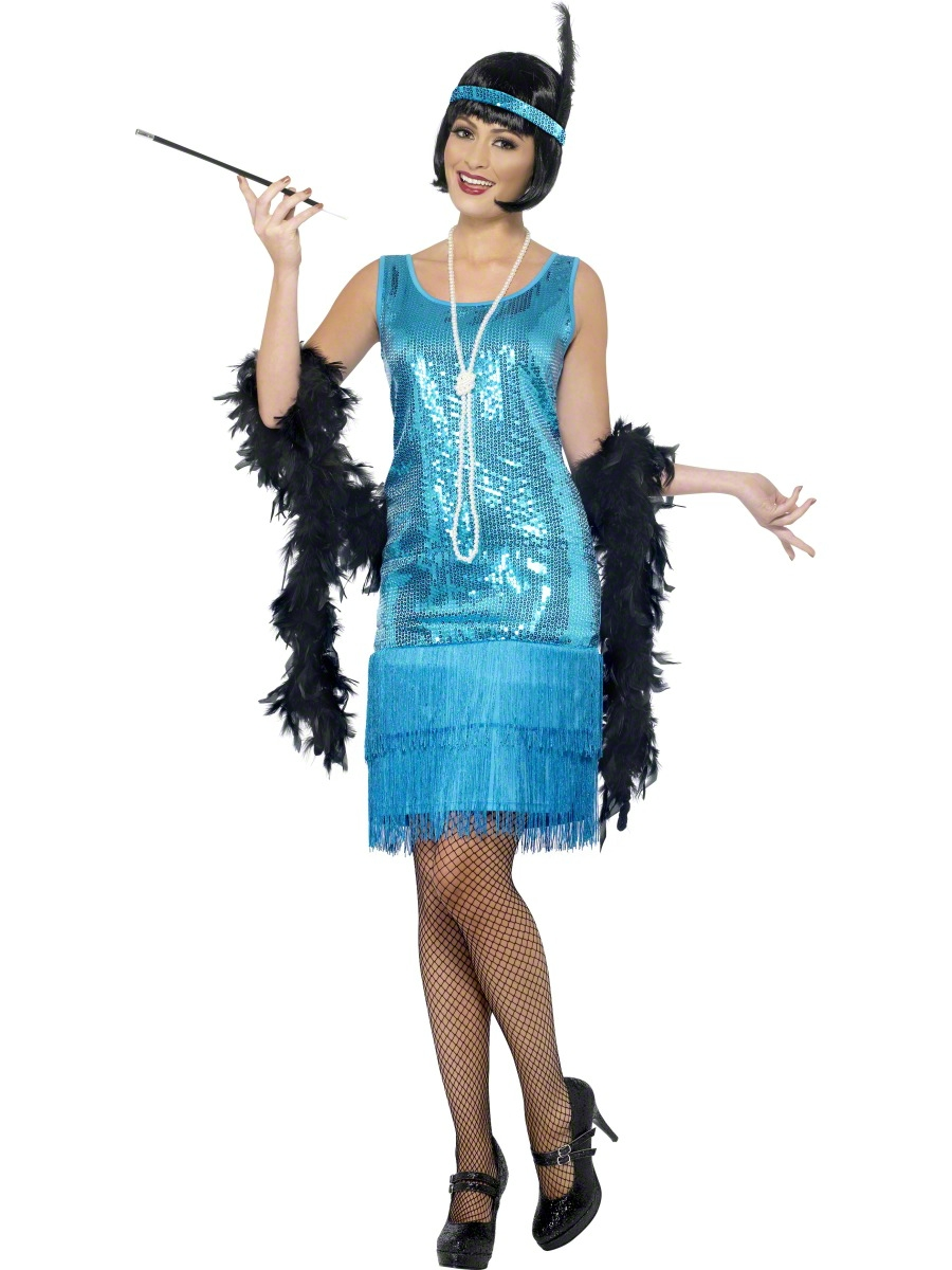 Teal Flirty Flapper Costume | All Ladies Costumes | Mega Fancy Dress
