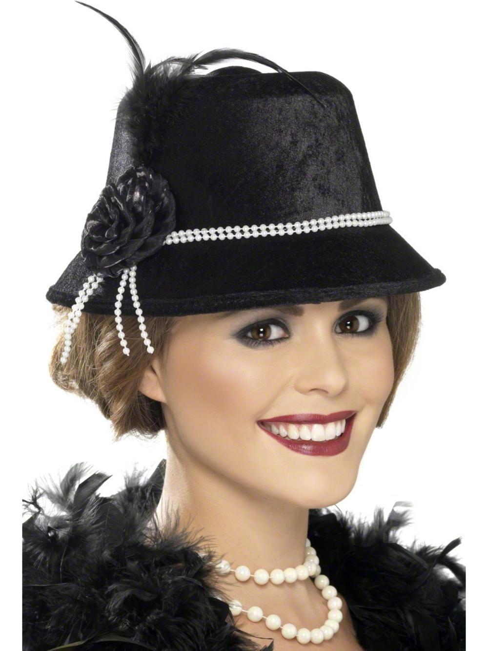 20s Black Flower Hat