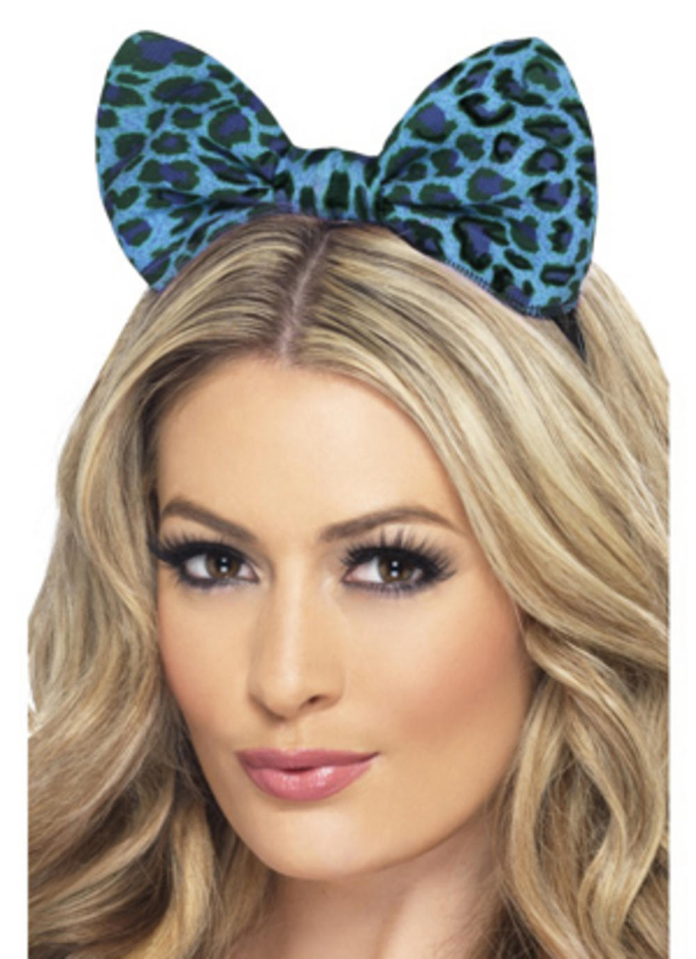 Blue Leopard Bow on Headband
