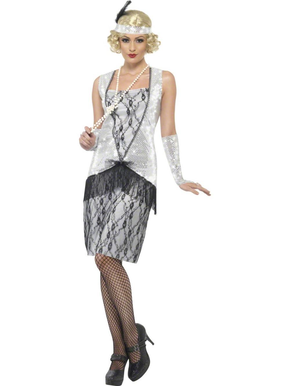 Silver Flapper Fancy Dress