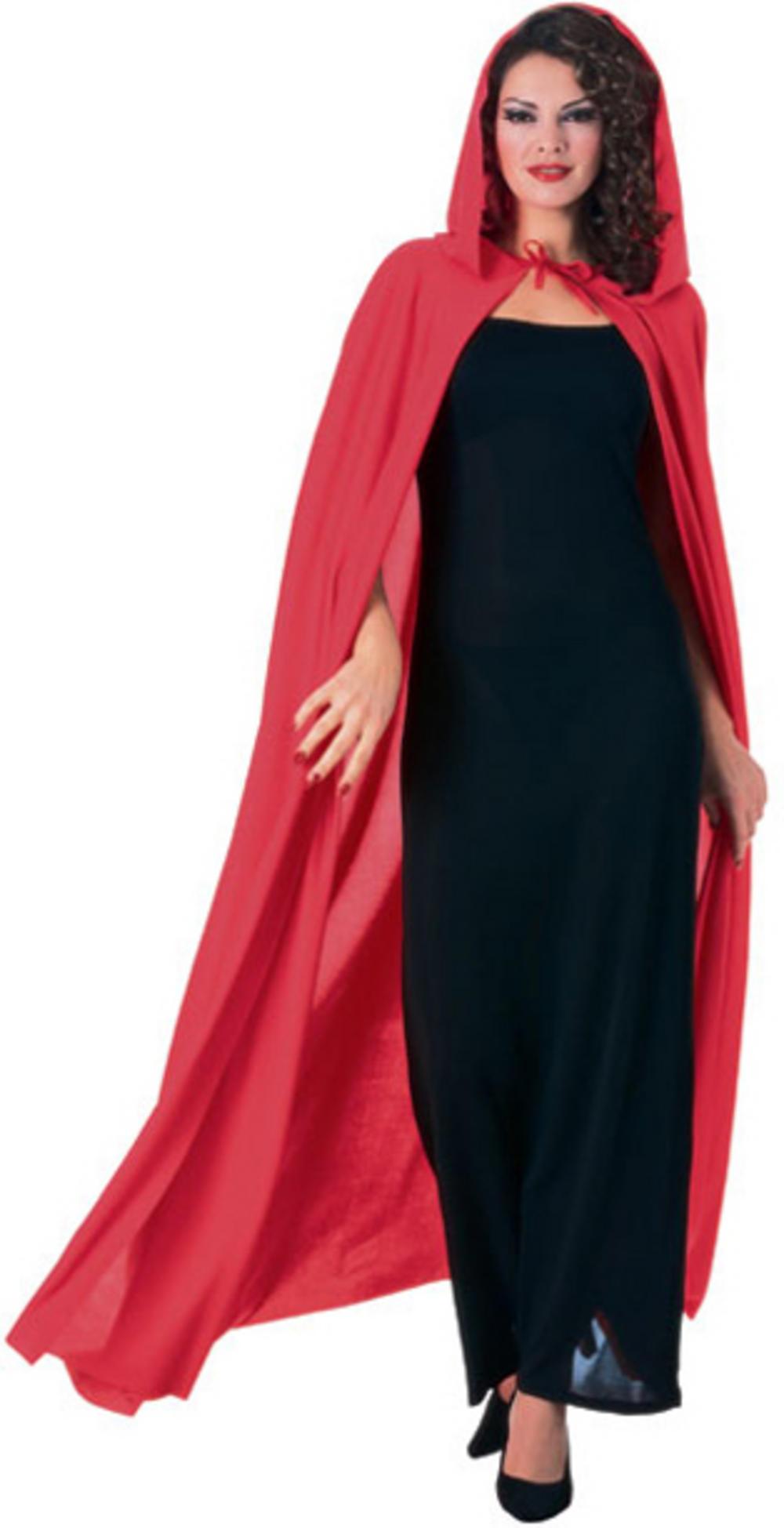 Red Full Length Hooded Cape