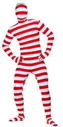 Red & White Striped Skinz Bodysuit Costume