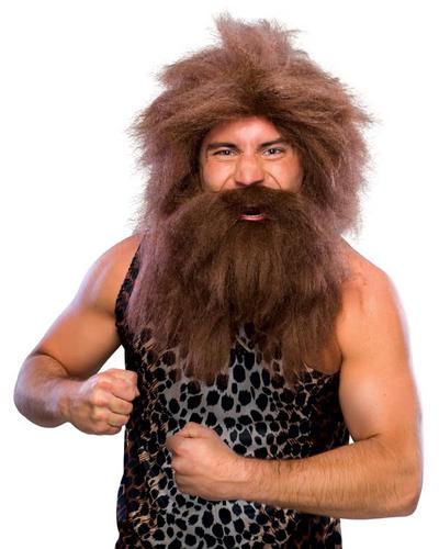 Brown Preshistoric Wig and Beard