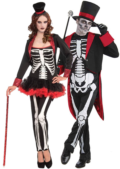 Sentinel Mr u0026 Mrs Bones Jangles Halloween Skeleton Fancy Dress Mens Ladies Costume Outfit  sc 1 st  eBay : skeleton costumes female - Germanpascual.Com