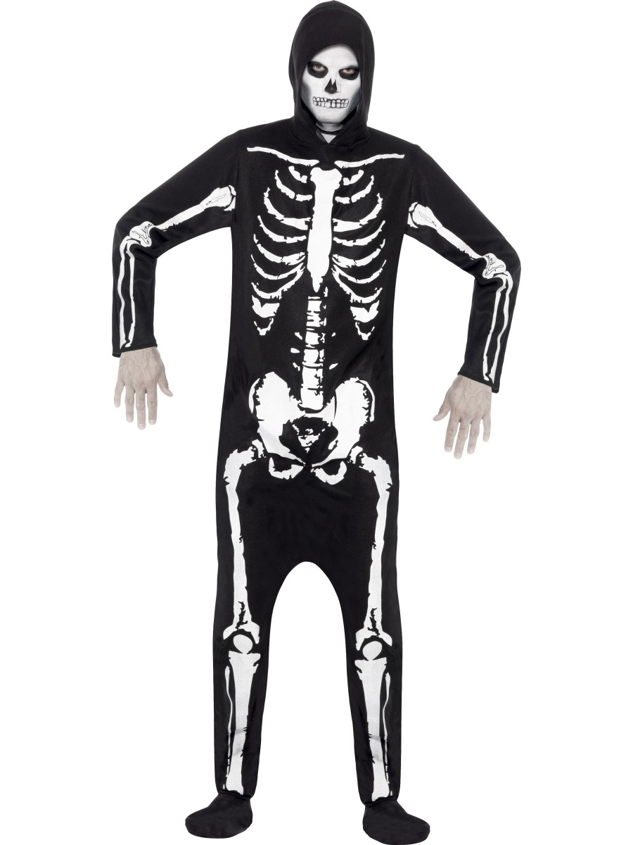sentinel devil or skeleton fancy dress mens teens halloween costume jumpsuit adult outfit