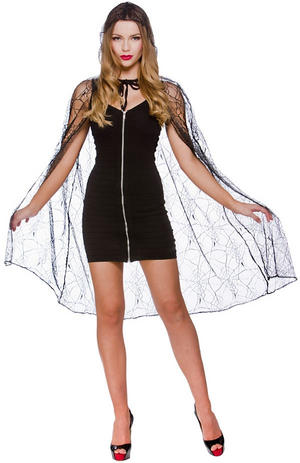 Deluxe Spider Web Cape with Hood