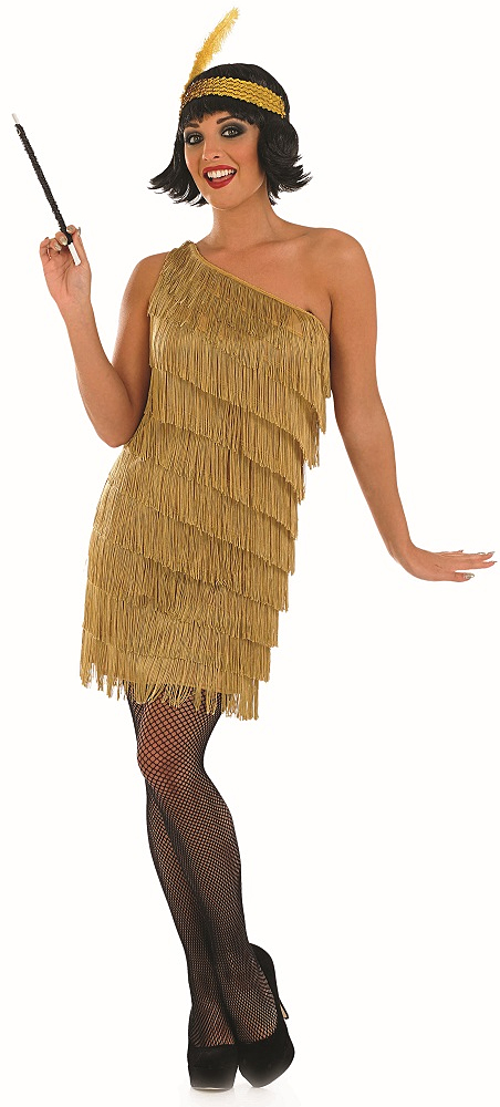 Sentinel 1920s Gold Fler Dress Las Fancy 20s Gatsby Womens Costume Outfit New
