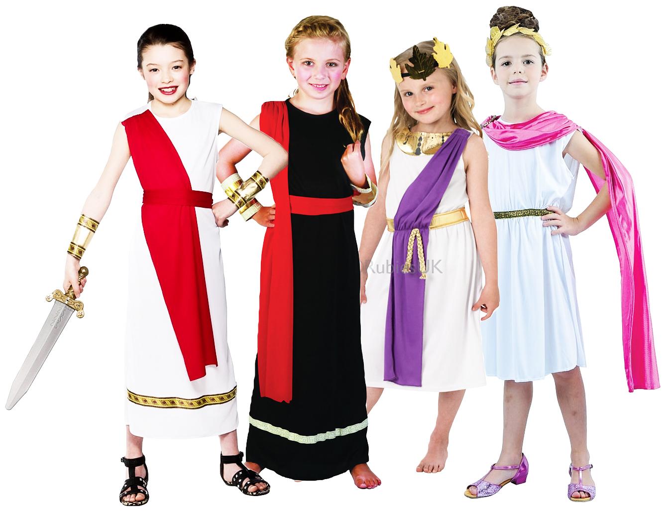 Roman Girls Fancy Dress Ancient Rome Grecian Toga Kids