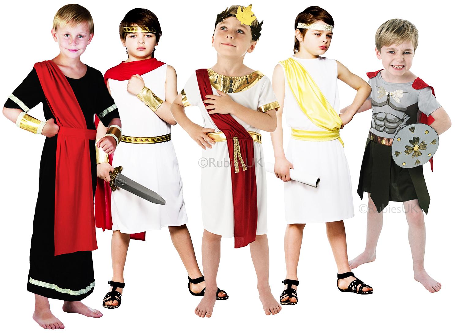 ancient roman boys fancy dress toga grecian book week kids childs