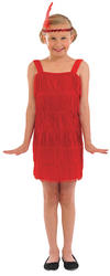Girls Red Flapper Dress
