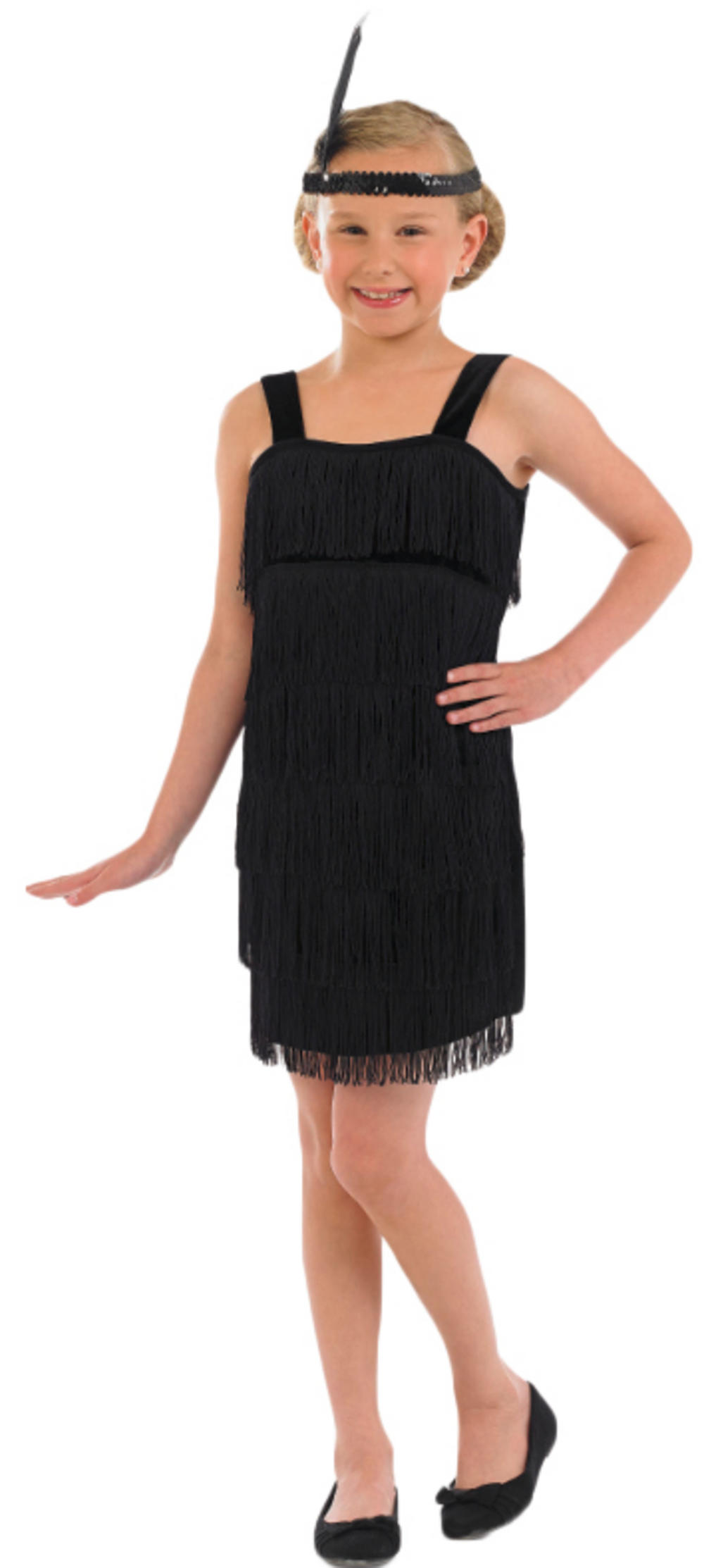 Girls Black Flapper Dress