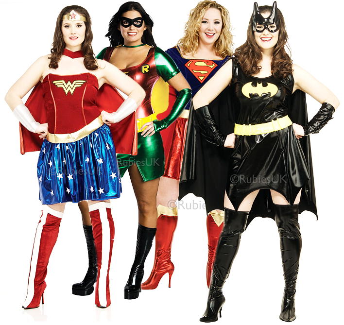 Superhero Plus Size Uk 16 20 Ladies Fancy Dress Comic Character