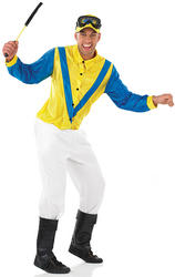 Mens Blue & Yellow Jockey Fancy Dress Costume