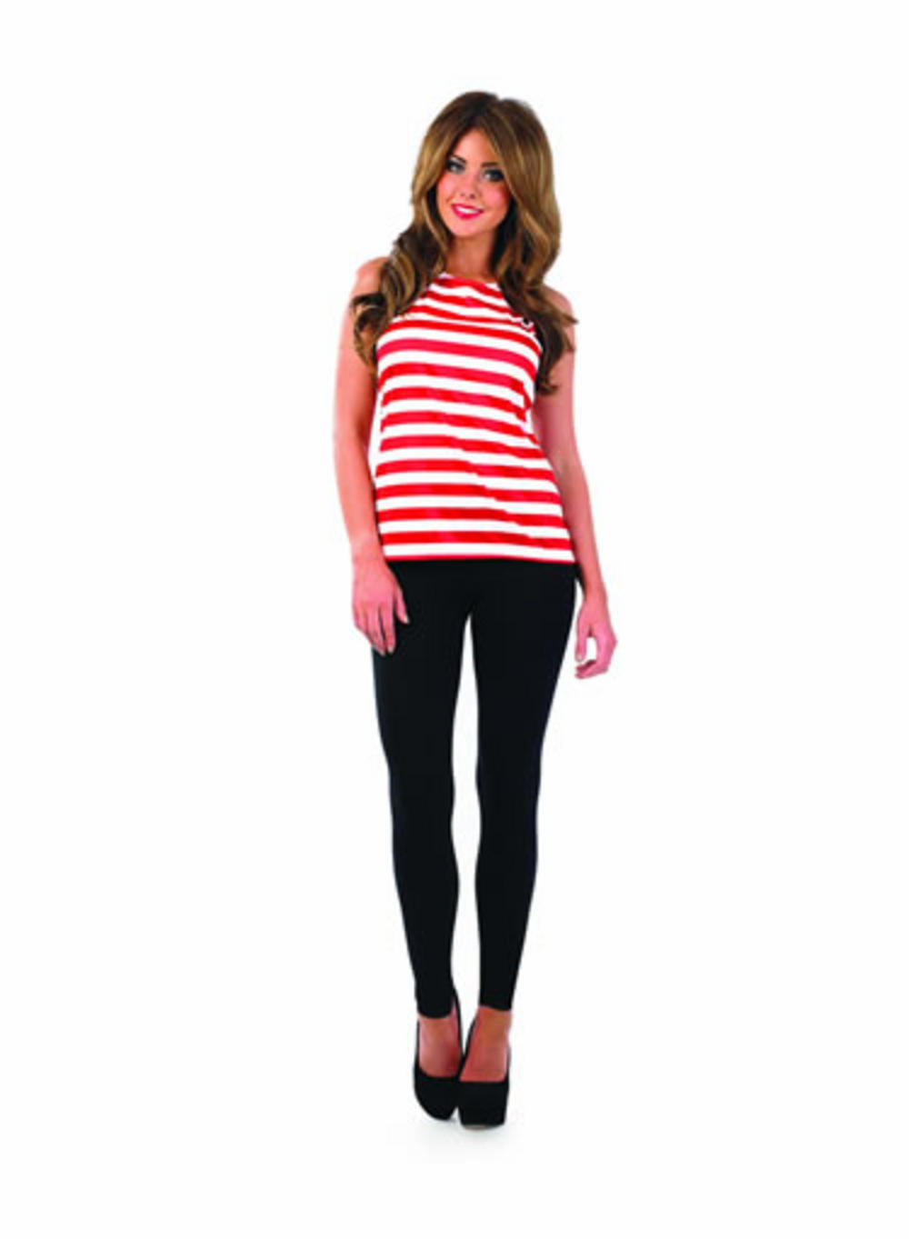 Ladies Red And White Striped Fancy Dress Top