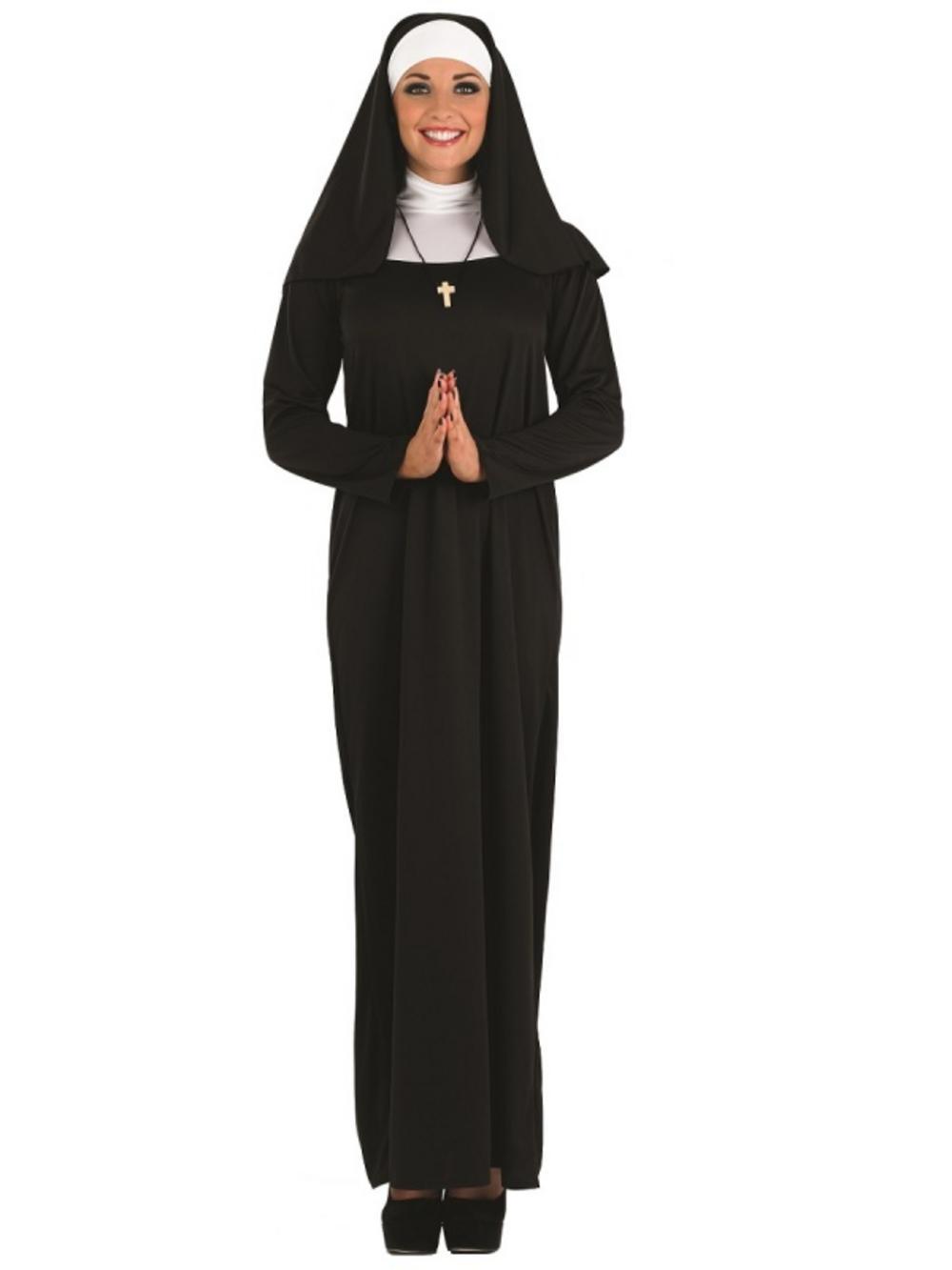 Ladies Nun Fancy Dress Costume