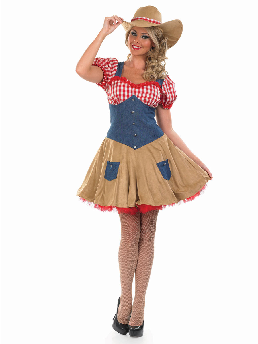 Sentinel Sexy Cow Girl + Hat Fancy Dress Ladies Western Adult Womens  Cowgirl Costume New 08695bd17