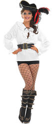 Ladies White Pirate Shirt & Belt Costume