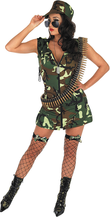 Ladies sexy army wife military soldier hen do night fancy dress costume outfit