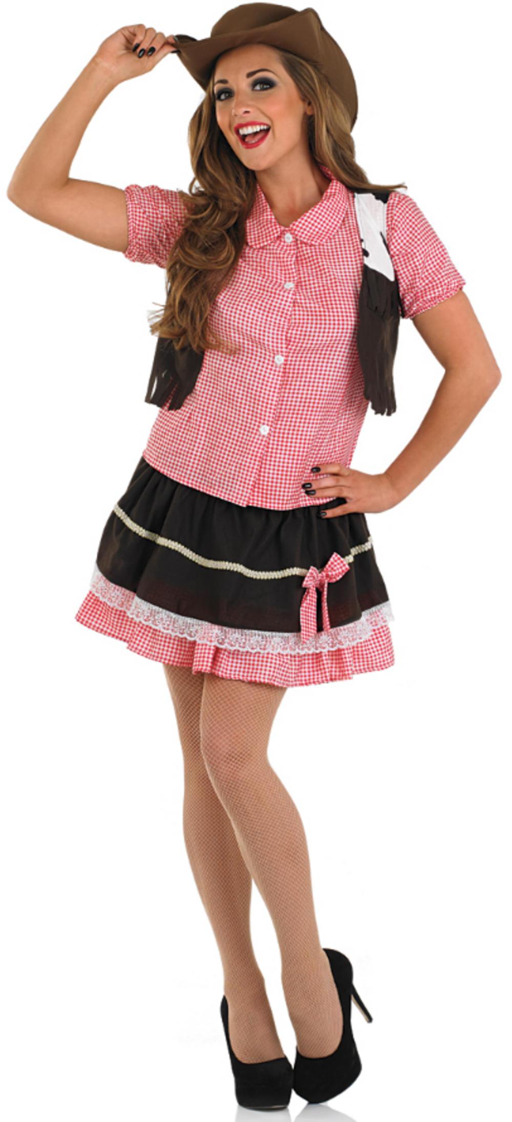 Ladies Cute Cowgirl Fancy Dress Costume