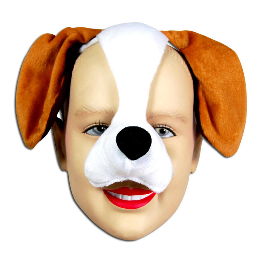 Brown Dog Face Mask /& Sound Animal Fancy Dress Costume Outfit New