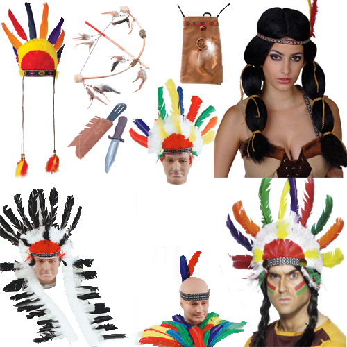 Mens Ladies Native American Indian Costume Accessories Adults Fancy Dress Outfit