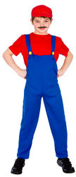 Kids Red Funny Plumber Costume
