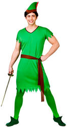 Mens Lost Boy, Elf, Robin Hood Costume