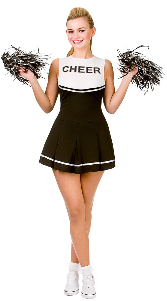 Black/White Cheerleader Costume  sc 1 st  Mega Fancy Dress & Black/White Cheerleader Costume | Ladies Costumes | Mega Fancy Dress