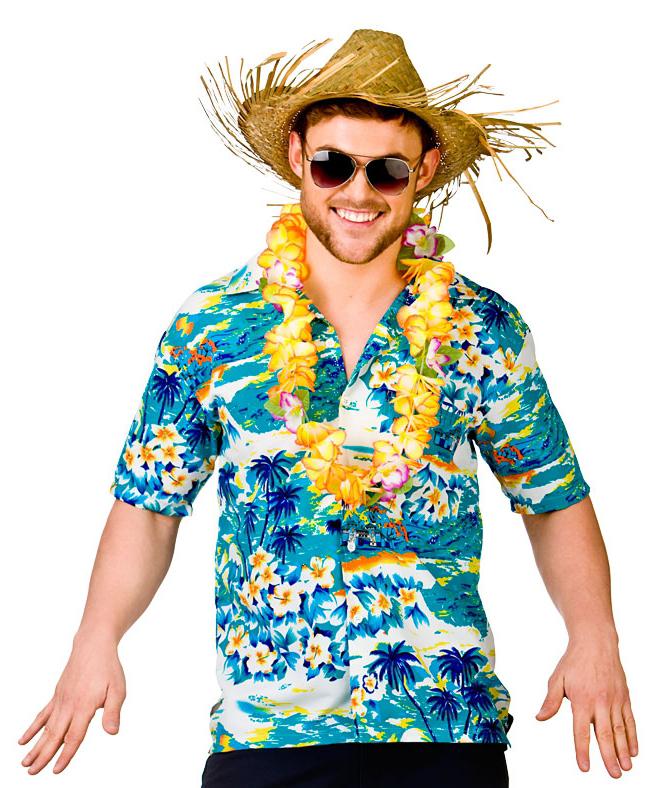 Adults Hawaiian Turquoise Surf Shirt Costume | Letter U0026quot;Hu0026quot; Costumes | Mega Fancy Dress