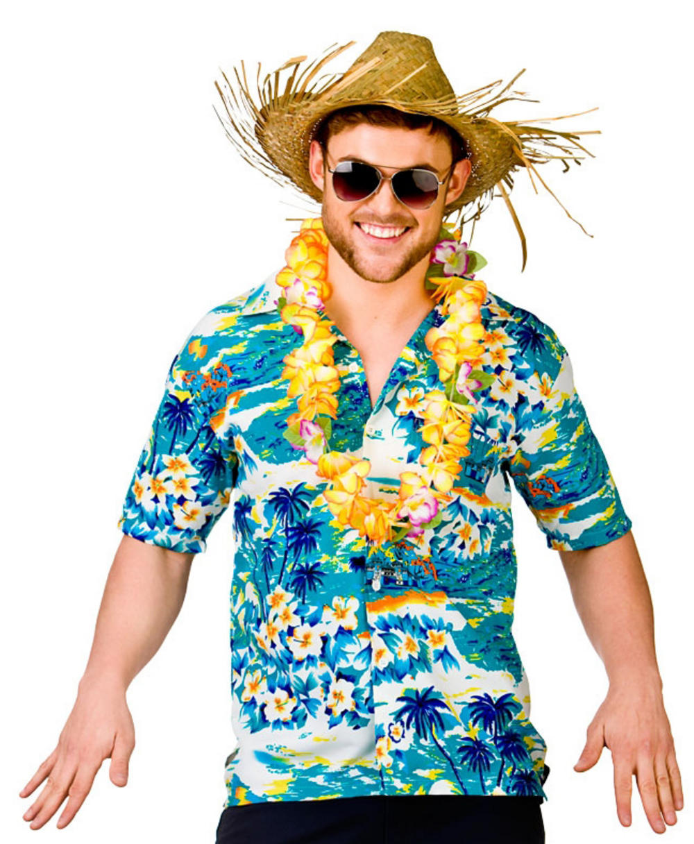 Adults Hawaiian Turquoise Surf Shirt Costume | Letter u0026quot;Hu0026quot; Costumes | Mega Fancy Dress