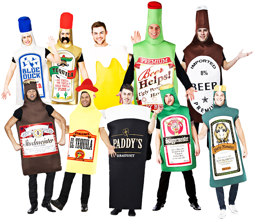 Sentinel Alcohol Drink Bottles Mens Costumes Stag Night Fun S Fancy Dress Outfits