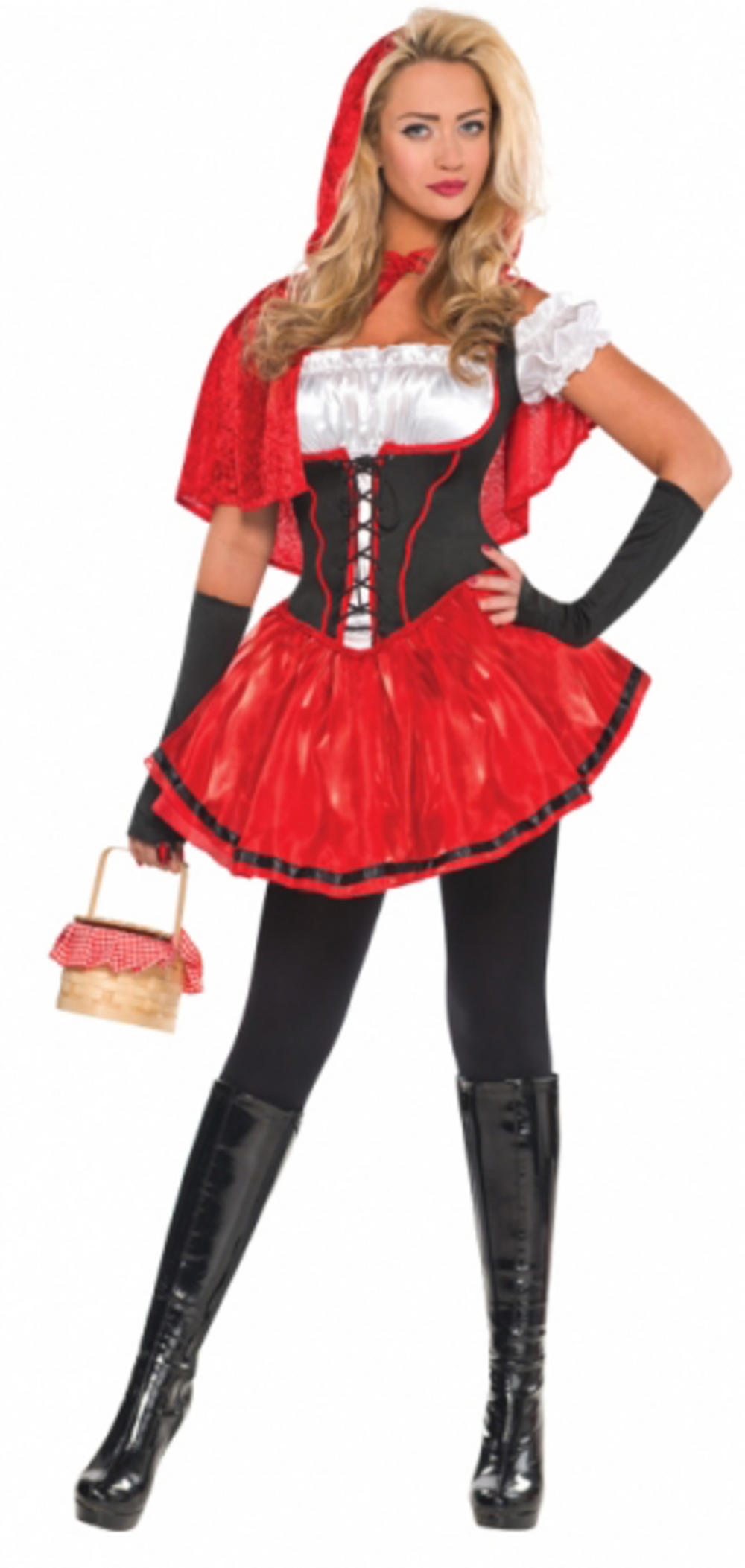 Adults Red & Black Riding Hood Costume