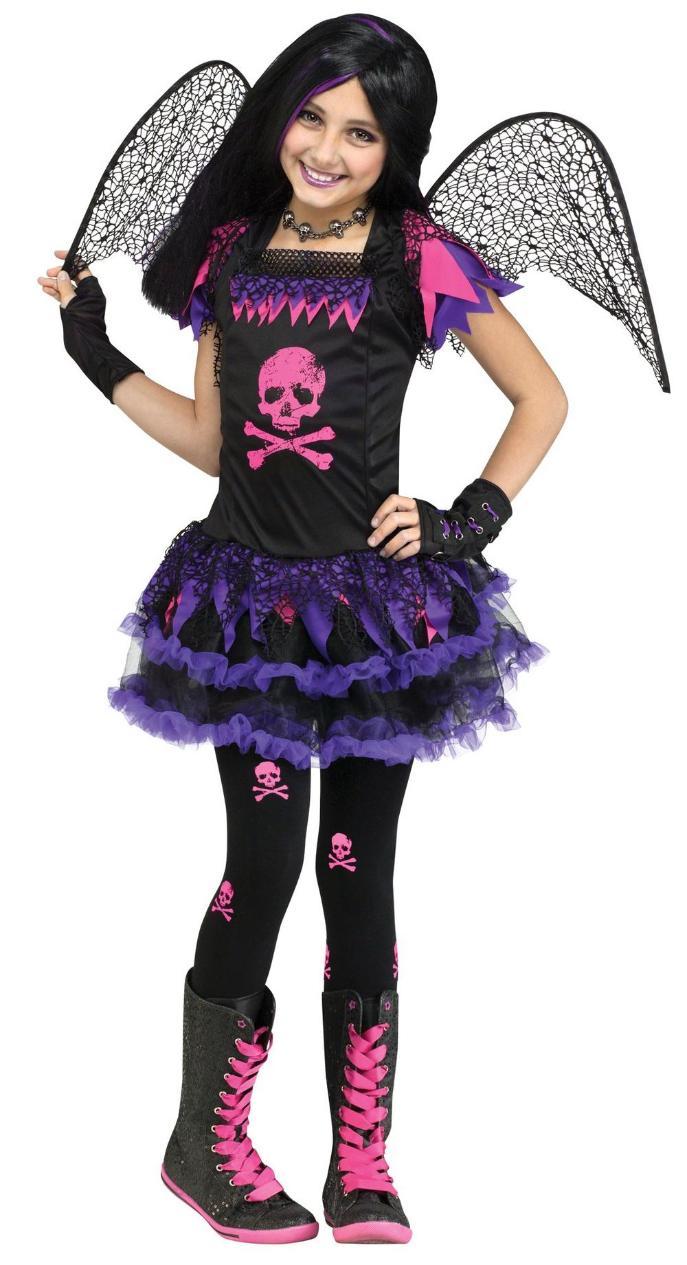 Girls Pink Skull Fairy Costume