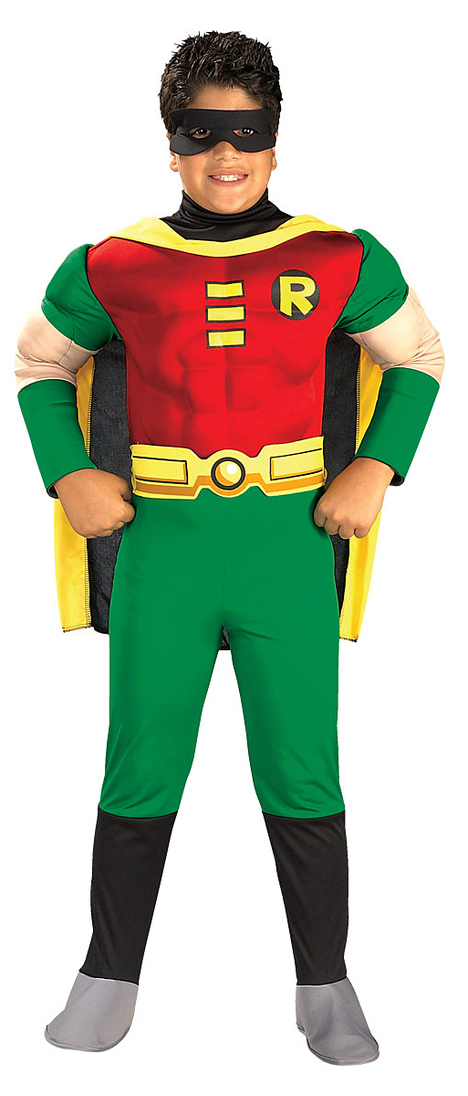 Boys Teen Titans Deluxe Muscle Chest Robin Costume Tv Book And
