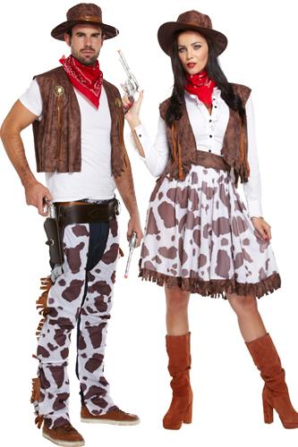Cowboy & Cowgirl Couple Fancy Dress Adults Mens Ladies ...