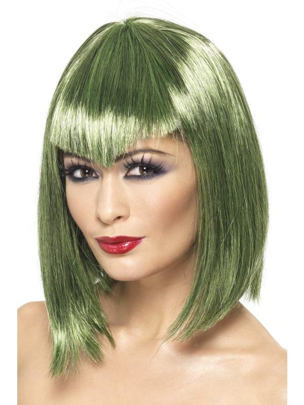 Green Vampire Wig Ladies Fancy Dress Wigs Mega Fancy