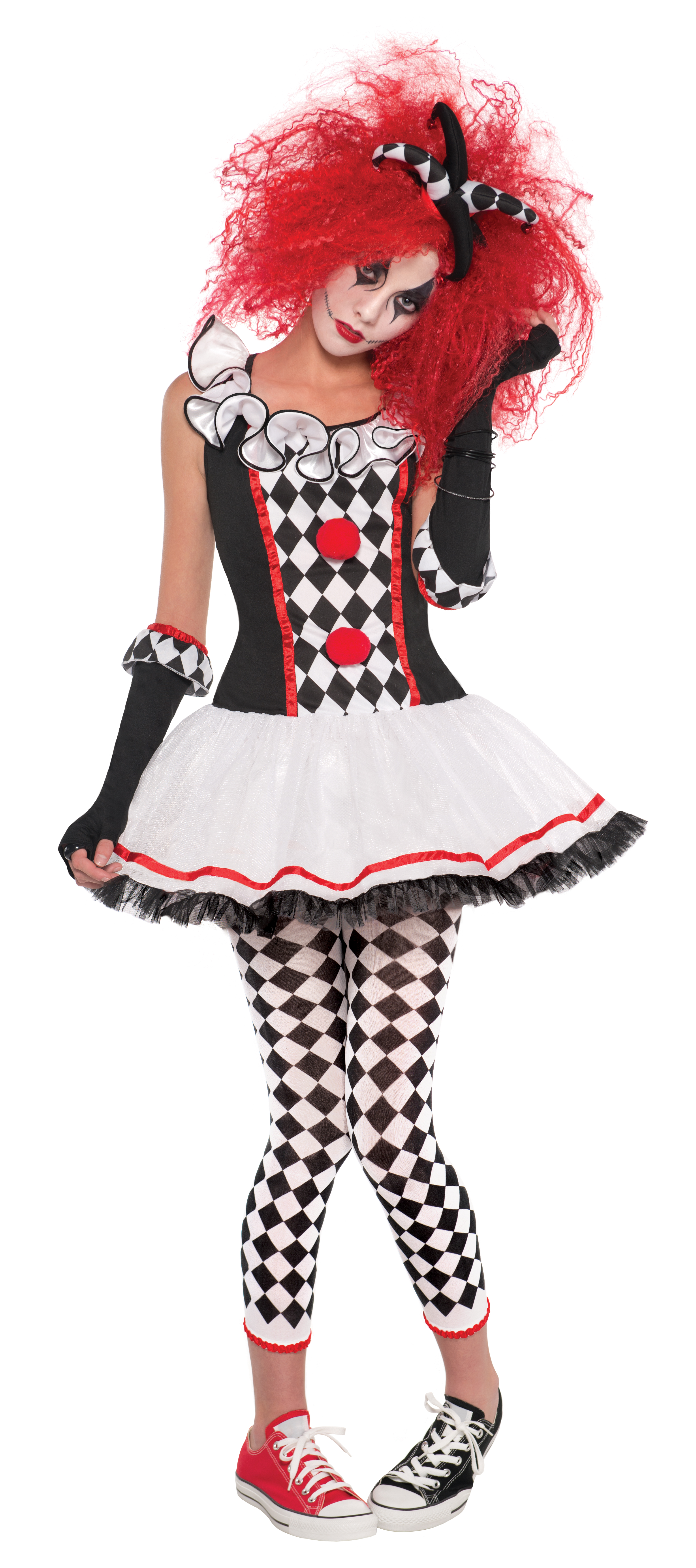 harlequin jester ladies fancy dress halloween horror circus clown