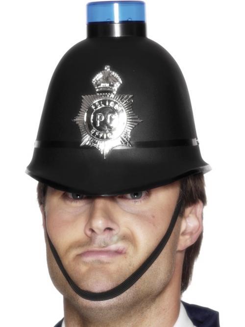 Police Helmet with Flashing Siren Light
