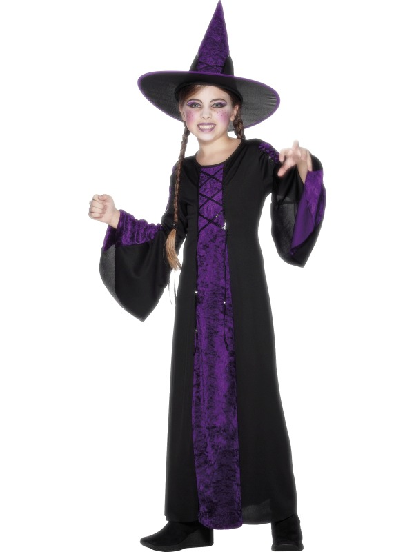 Halloween Witch + Hat Girls Fancy Dress Up Horror Kids Childrens ...
