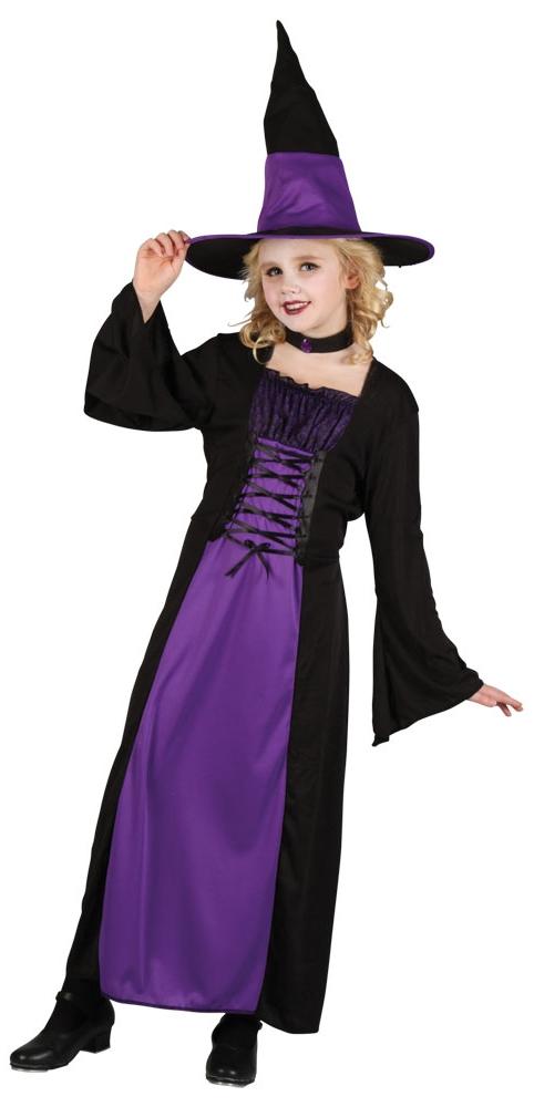Sentinel Halloween Witch + Hat Girls Fancy Dress Up Horror Kids Childrens Witches Costume  sc 1 st  eBay & Halloween Witch + Hat Girls Fancy Dress Up Horror Kids Childrens ...
