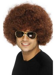 Adults 1970s Brown Funky Afro Wig