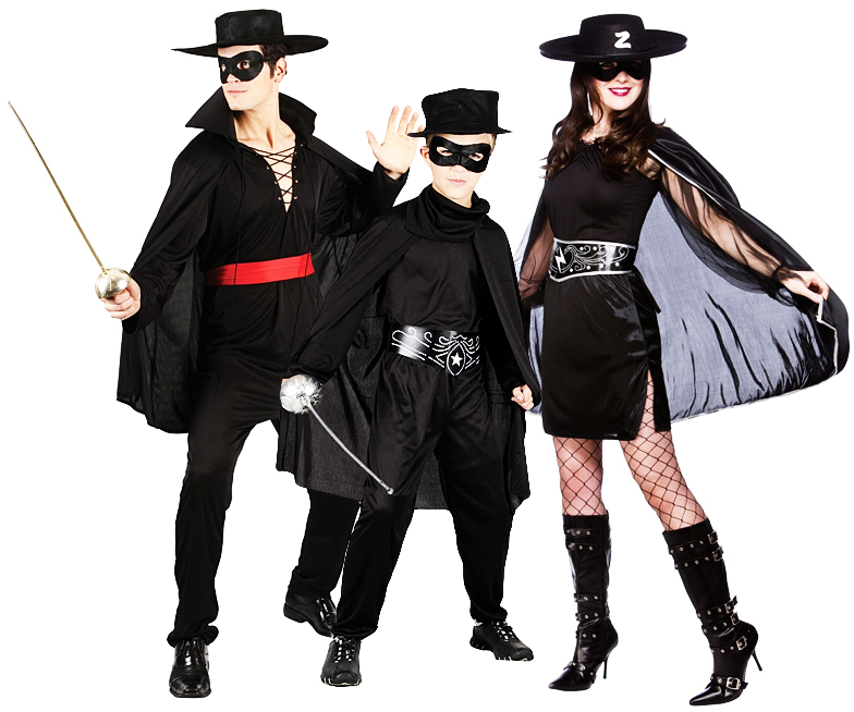 Mexican Bandit + Mask Fancy Dress Zorro Hero Kids Mens