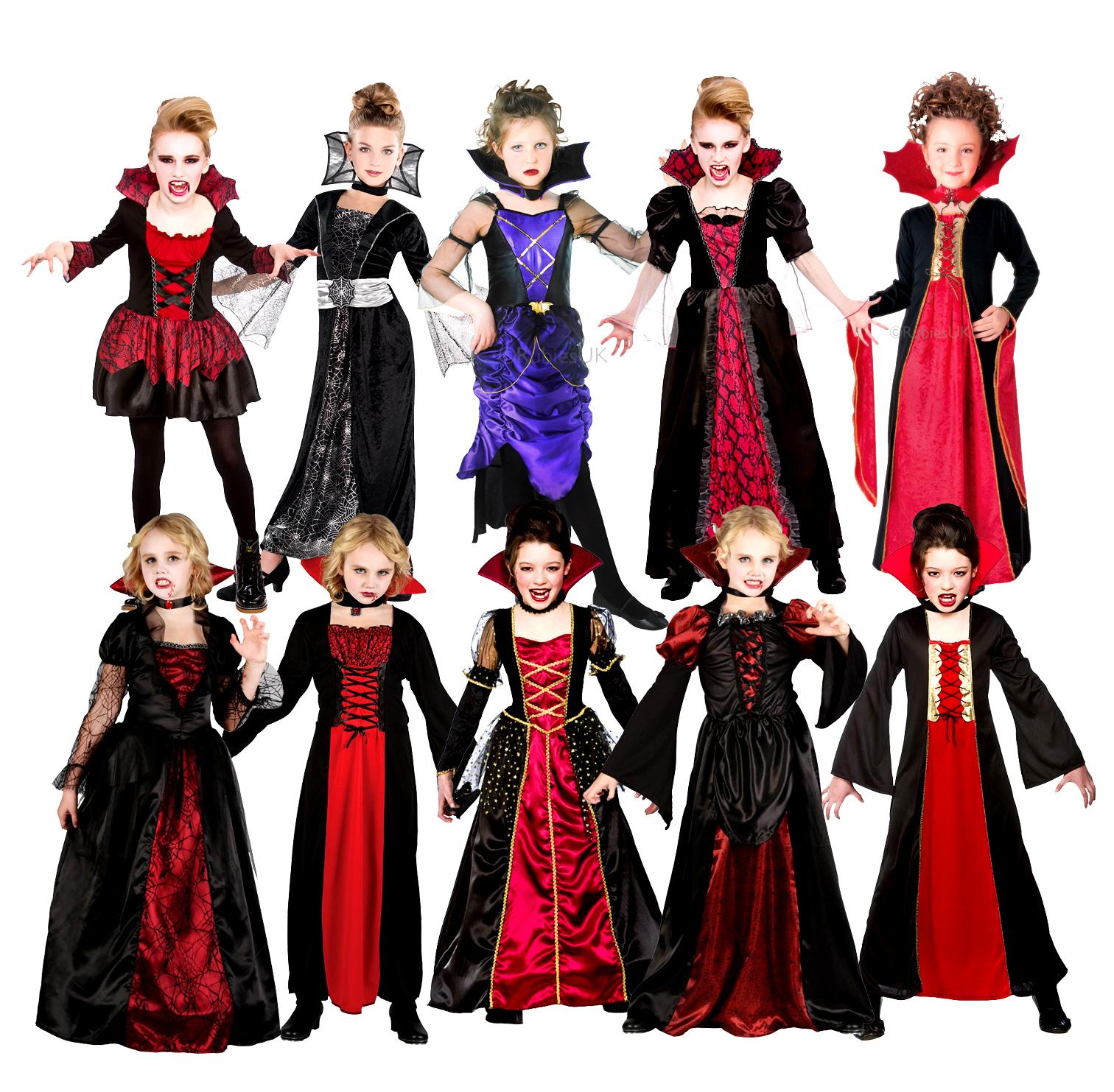 Vampiress Girls Halloween Fancy Dress Vampire Kids Childrens Childs ...